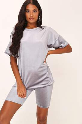 I SAW IT FIRST Grey Velvet T-Shirt And Cycling Shorts Set