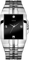GUESS Black and Silver-Tone Rectangular Diamond Watch