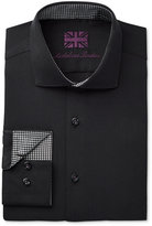 Michelsons of London Men's Slim-Fit Black Textured Dress Shirt