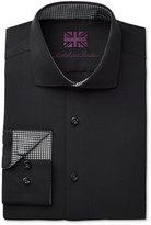 Michelsons of London Men's Slim-Fit Black Textured Dress Shirt