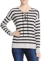 Aqua Cashmere Sailor Stripe Lace-Up Cashmere Sweater