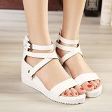 Summer pltform shoes/Hevy-bottomed sndls/Toe/Within the higher/Cross belt Romn shoes