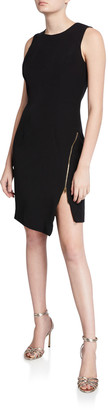 Milly Sleeveless Sustainable Cady Sheath Dress w/ Asymmetric Zipper