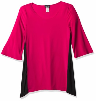 Star Vixen Women's Slimming Colorblock Ity Top with Elbow Sleeves