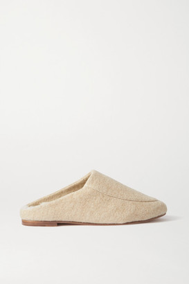 PORTE & PAIRE Shearling-lined Felt Slippers - Beige