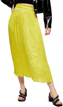 Topshop Pleated Crushed Satin Skirt