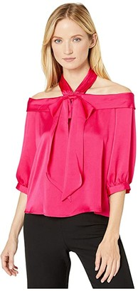 CeCe Drop Shoulder Halter 3/4 Sleeve Blouse with Bow (Ruby Blush) Women's Blouse