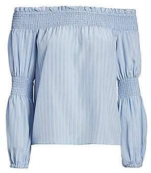 L'Agence Women's Mona Stripe Silk Off-The-Shoulder Blouse