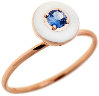 Selim Mouzannar Blue Sapphire and Ivory Enamel Ring - Rose Gold
