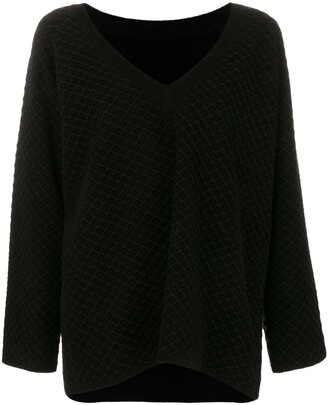 Alaia Pre-Owned V-neck chunky jumper
