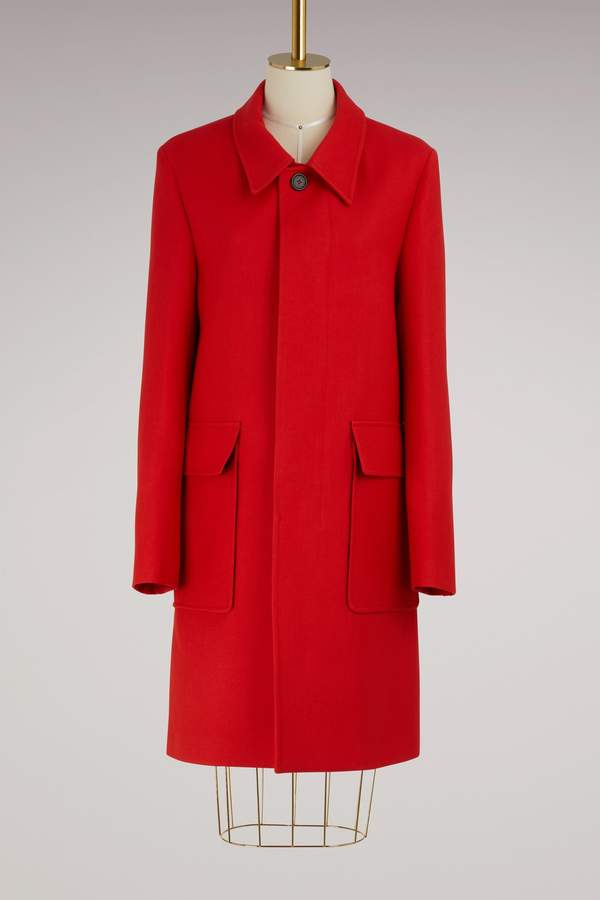 Ami Straight coat with check