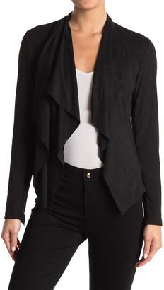 Joan Vass Drape Front Faux Suede Jacket