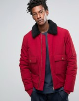 Asos Military Jacket With Fleece Collar In Red