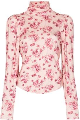 LoveShackFancy Vienna floral high neck T-shirt
