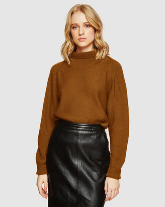 Oxford Women's Brown Jumpers - Storm Funnel Collar Knit - Size One Size, XS at The Iconic