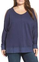 Plus Size Women's Caslon Cold Shoulder Sweatshirt