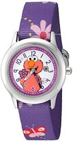 EWatchFactory Girl's 'Sesame Street' Quartz Stainless Steel and Nylon Automatic Watch, Color:Purple (Model: W003184)