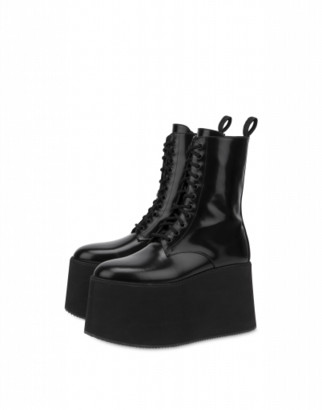 Moschino Combat Boots With Platform Wedge Woman Black Size 38 It - (8 Us)