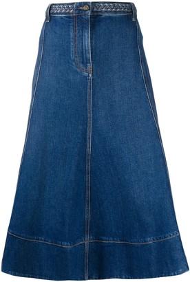 Valentino Flared High-Waisted Denim Skirt