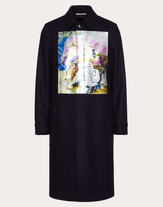 Valentino Spaceland Coat Man Blue Virgin Wool 100% 44