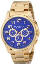Akribos XXIV Men's AK748YG Multifunction Swiss Quartz Movement Watch with Blue Engraved Sunburst Dial and Yellow Gold Stainless Steel Bracelet