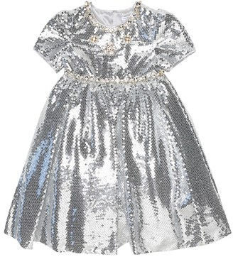 Dolce & Gabbana Kids Crystal-embellished sequined dress