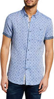Report Collection Men's Linen Nautical-Print Sport Shirt