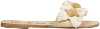 Manebi Raffia Tassel Flat Sandals