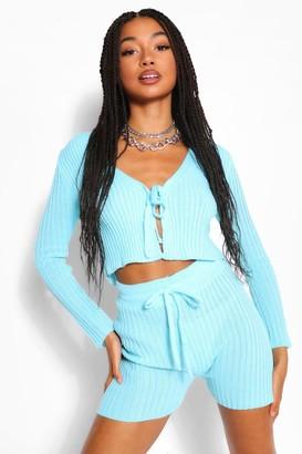 boohoo Rib Knit Lace Up Shorts Coord