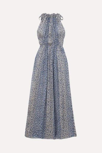Ulla Johnson Augustine Floral-print Plissé Silk-blend Gauze Maxi Dress - Blue