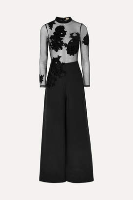 Myla Park Lane Appliqued Tulle And Silk-satin Jumpsuit - Black