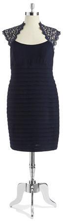 Xscape Evenings Plus Illusion Pleated Dress