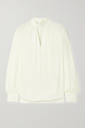 Theory Cutout Silk Crepe De Chine Blouse - Ivory