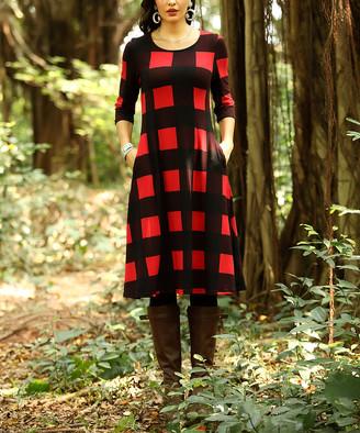 Buffalo David Bitton Reborn Collection Women's Casual Dresses Red - Red & Black Plaid Pocket Three-Quarter Sleeve Shift Dress - Women & Plus