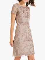 Phase Eight Alannah Embroidered Mesh Dress, Latte/Oyster