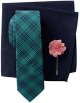 Original Penguin Reale Check Tie, Pocket Square, & Lapel Pin 3-Piece Set