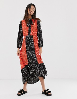 Only maxi dress in mixed floral print-Black