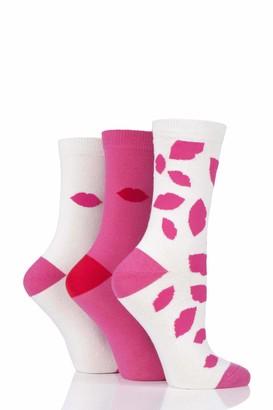 Lulu Guinness Womens White Lips Cotton Socks Pack of 3 Assorted 4-8