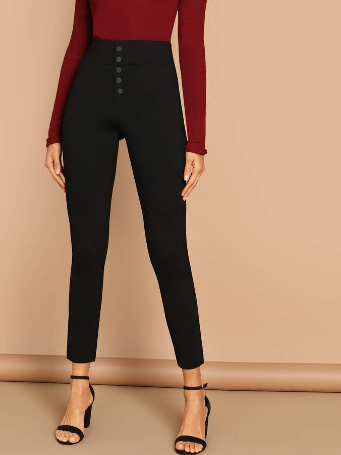 Buttoned Fly Skinny Pants