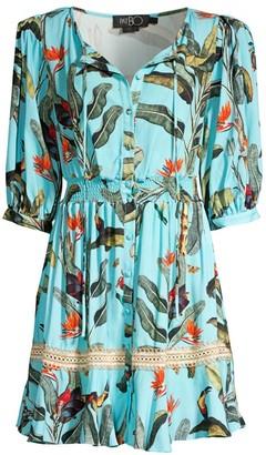 PatBO Padded Shoulder Tropical Print Shirtdress