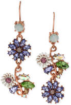 Betsey Johnson Rose Gold-Tone Faceted Bead Flower Mismatch Drop Earrings