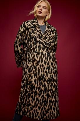 Topshop IDOL Leopard Print Maxi Coat