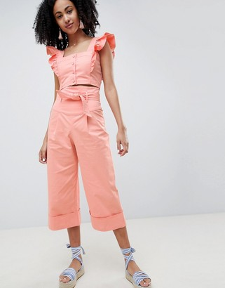 Lost Ink Wide Leg Trousers With Paperbag Waist Co-Ord-Pink