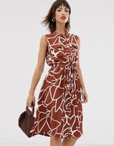 Y.A.S sleeveless abstract print dress with utility pockets