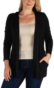 24seven Comfort Apparel Women's Plus Size Hooded Cardigan