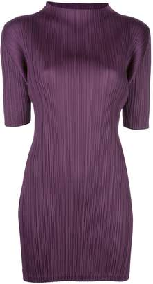 Pleats Please Issey Miyake pleated roll neck dress
