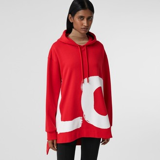 Burberry Love Print Cotton Oversized Hoodie