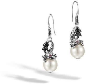 John Hardy Naga Drop Earring With Pearl And Black Sapphire