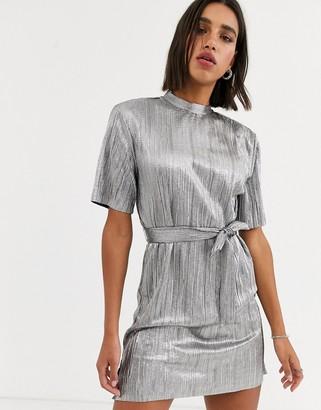 Bershka tshirt dress with tie in silver