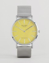 Reclaimed Vintage Inspired Silver Mesh Watch With Yellow Dial